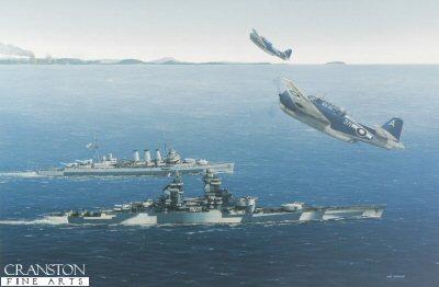 Richelieu and HMS Cumberland 1945 by Ivan Berryman (GL)