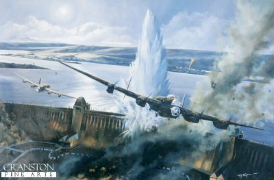 DHM1128B. Goner 78A - The Dambusters Raid by Tim Fisher. <p> The fourth attack on the Mohne Dam led by Sqd Ldr H M Young, piloting AJ-A (ED877/G) In the background to his starboard side is Flt Lt H B Martin, flying AJ-P (ED909/G) who was drawing fire away from the attacking aircraft by flashing his identification lights and turning on the spotlight altitude indicators. Wing Cdr G P Gibsons aircraft is out of sight, engaging enemy fire at the far side of the dam wall. The bomb was observed to make three good bounces and exploded on contact exactly as Barnes Wallis had planned, generating a vast column of water. Although it was not obvious at that instant, this was the attack which succeeded in breaching the dam. However, it was not until the next attack by Flt D J H Maltby that it was realised that the dam was crumbling. The code word sent out by Young signified; Goner (bomb released) 7 (exploded in contact with the dam) 8 (no apparent breach) A (Mohne dam) Youngs aircraft was lost with all lives on its return to Scampton possibly around 02.58 near Castricum-ann-Zee, north of Ijmuiden. <b><p>Signed by <br> Squadron Leader George L. Johnson DFM. <p> Johnson signature edition of 200 prints from the signed limited edition of 1150 prints. <p> Image size 25 inches x 17 inches (64cm x 43cm)