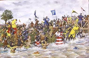 DHM1129.  The Battle of Stirling Bridge by Brian Palmer. <p>After Edward 1st proclaimed himself King of Scotland Sir William Wallace rallied Scots in the South West and began attacking English occupying forces around Scotland. Edward I ordered the Earl of Surrey to put down the rebellion, after taking the surrender of rebel forces at Irvine the Earl of Surrey marched against William Wallaces forces at Stirling. He ordered his army to cross the narrow bridge over the Forth River near the Abbey of Cambuskenneth on September 11th. From a vantage point overlooking the bridge William Wallace watched and waited until the English army of 5,000 had crossed Stirling bridge and with the bridge being crowded with troops he launched his attack with his entire force wiping out the entire bridgehead. The rest of the English army fell back but William Wallace pursued. After this defeat English forces were evacuated south as far as the River Tweed.<b><p>Signed limited edition of 1150 prints. <p> Image size 25 inches x 15 inches (64cm x 38cm)