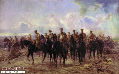 DHM113.  Retreat From Mons by Lady Elizabeth Butler. <p>The battle of Mons was the first major  battle fought by the British Expeditionary Force (BEF) The BEF had advanced along a 20 mile front along the Mons canal, and were on there left flank of the French 5th army.  But when the French army had been defeated at the Battle of the Sambre on the 22nd August, The British  commander Sir John French agreed to hold his position until the morning of the 23rd.  The  BEF were attacked by the German First Army . The German infantry advance was repelled by the British infantry and sustained  very large losses: the British lost 1600 killed or wounded.  But with the French forces retreating the British forces had no alternative but to retreat also, and on the morning of the 24th of August they began retreating to the outskirts of Paris over a fourteen day period. <b><p> Restricted print run. <p> Image size 30 inches x 19 inches (76cm x 48cm)