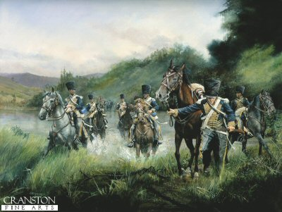 DHM1132.  Advance on Vittoria by Chris Collingwood. <p> The 13th Light Dragoons cross a small river as part of Wellingtons armies advance on Vittoria in June 1813 during the Peninsula Campaign. <b><p> Signed limited edition of 1150 prints. <p> Image size 25 inches x 16 inches (64cm x 41cm)