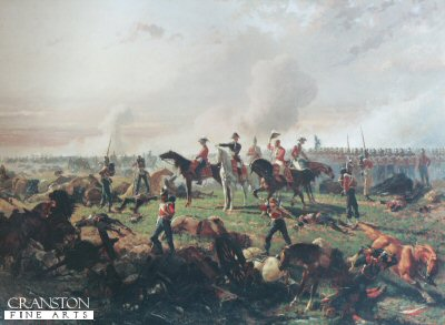 DHM1136.  The Battle of Waterloo by Auguste Doviane. <p>The Duke of Wellington with his aides is shown with the Guards regiments near the end of the Battle of Waterloo. <b><p> Only 400 copies produced.  <p>Image size 25 inches x 17 inches (64cm x 43cm)