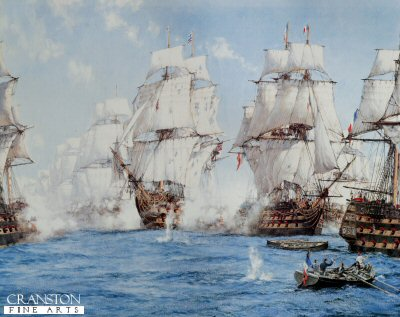 The Battle of Trafalgar by Montague Dawson.