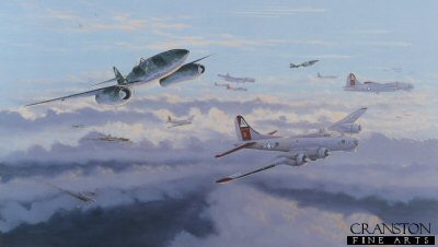 DHM1156B. Defenders of the Reich by Graeme Lothian. <p> Major Rudolf Rudi Sinner of STAB.III/JG7 attacking B-17s of 91st Bomb Group during March 1945. Attacking in a Kette of three aircraft from behind and below targeting the tailenders and rising over the B-17s. Avoiding any debris and evading the incoming fighter escort, who are dropping down from their top cover positions. Rudolf Sinner acheived a total of 39 victories, including two in the Me262. <b><p>Signed by Major Erich Rudorffer (deceased). <p>Erich Rudorffer Knights Cross signature series edition of 240 prints from the signed limited edition of 1150 prints. <p> Image size 25 inches x 14 inches (64cm x 36cm)