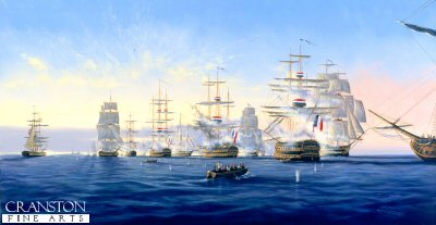 DHM1158. Admiral Nelsons Victory at the Battle of the Nile by Graeme Lothian. <b><p> Signed limited edition of 1150 prints. <p> Image size 25 inches x 14 inches (64cm x 36cm)