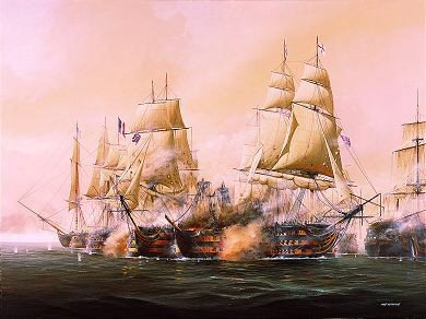 The Battle of Trafalgar, 21st October 1805 by Ivan Berryman. (Y)