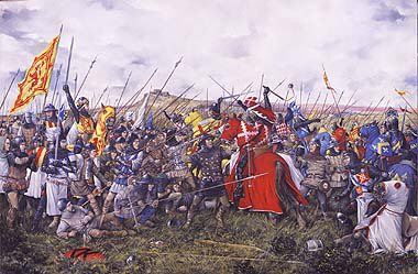 DHM1169.  The Battle of Bannockburn by Brian Palmer. <p> Robert the Bruces Scots army stand fast as the English knights attack. Robert the Bruce succeeds in defeating the English army at Stirling.  With the full might of Englands army gathered before the besieged Stirling Castle, Edward II Plantagenate is confident of victory. To the west of Bannockburn, Robert Bruce, King of Scots, kneels to pray with his men and commends his soul to God.  Patiently awaiting the coming onslaught in tightly packed schiltroms, his spearmen and archers are well prepared for battle. Unknown to the English, the open marsh of no mans land conceals hidden pits and calthrops, major obstacles for any mounted charge. Despite Cliffords and Beaumonts premature and unsuccessful attempt to relieve Stirling the day before, years of victory have caused the brave English knights to regard their Scottish foes with contempt. So, without waiting for the flower of the forest (archers) to weaken the enemy formations, the order is hurriedly given to attack! With one rush, hundreds of mounted knights led by the impetuous Earl of Gloucester, thunder headlong through the boggy ground straight for the impenetrable mass of spears, hurling themselves into defeat and death. With dash and courage the knights try to force a way through but the infantry stand firm. There is no room to manoeuvre. Everywhere horses and men crash to the ground. Casualties amongst the English nobility are horrific. Bruce seizes the moment and orders the exultant army to advance. The English recoil and are pushed back into the waters of the Bannockburn where many perish in the crush to escape the deadly melee. Edward II, his army destroyed, flees with his bodyguard for the safety of the castle but is refused refuge and has to fight his way south to England. For Robert Bruce and Scotland, victory is complete. <b><p> Signed limited edition of 1150 prints. <p> Image size 24 inches x 14 inches (61cm x 36cm)