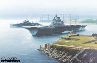 HMS Illustrious and HMS Kenya at Devonport by Ivan Berryman (GS)