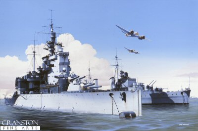 HMS Valiant and HMS Phoebe at Alexandria, 1941 by Ivan Berryman.