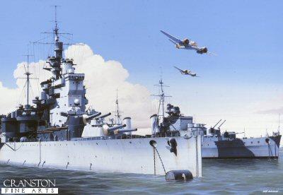 HMS Valiant and HMS Phoebe at Alexandria, 1941 by Ivan Berryman (PC)