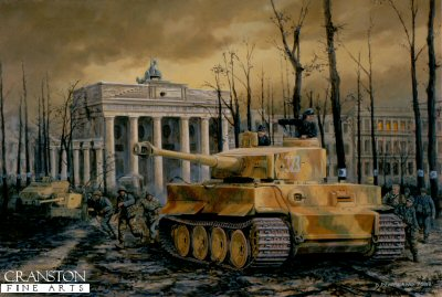 DHM1178D. Tiger at the Gate, Berlin, 30th April 1945 by David Pentland. <p> A Tiger I and PAK 40 anti tank gun of the Muncheberg Division, field a final defence of the capital in front of the Brandenburg Gate under the shattered remains of the famous Linden trees. The under-strength division had just been formed the previous month from a mixture of ad hoc units and various marks of tank. Despite this it put up a spirited fight until its final destruction in early May. <b><p>Signed by Oberstleutnant Alfred Rubbel. <p>Alfred Rubbel Knights Cross signature edition of 25 prints, from the signed limited edition of 1150 prints. <p> Image size 25 inches x 16.5 inches (64cm x 42cm)