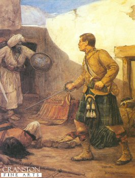 DHM118.  Drummer Roddick in Afghanistan by Skeoch Cumming. <p>During hand to hand fighting in the Afghan War Lt. S.A. Menzies was wounded and drummer Roddick with drawn claymore fought off the Afghans and protected his officer. <b><p> A restricted print run published in 1991 by permission of the Regimental Trustees of the Gordon Highlanders. <p> Image size 16 inches x 23 inches (41cm x 58cm)