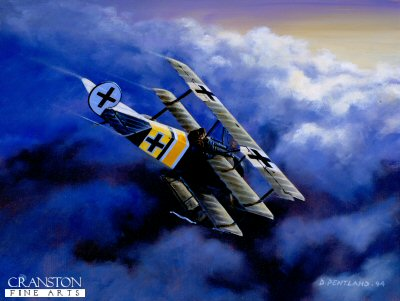 DHM1191. Alone in a Winter Sky - Fokker Triplane DR1 by David Pentland <p> Rittmeister Karl Bolle Commander Jasta 2 early 1918. <b><p> Limited edition of 1150 prints.  <p>Image size 12 inches x 8 inches (31cm x 20cm)