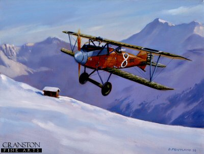 DHM1193. Christmas Kiss - Albatros DV by David Pentland <p> Albatros DV piloted by Austro-Hungarian Ace Lt. Josef Kiss, Austrian Alps in December 1917. <b><p> Limited edition of 1150 prints.  <p>Image size 12 inches x 8 inches (31cm x 20cm)