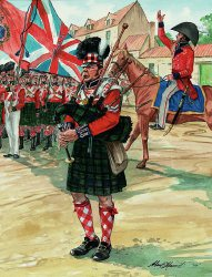 Piper of the 92nd Highlanders at Waterloo by Alan Herriot.