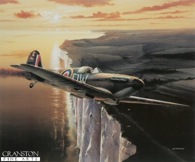DHM1211.  Return of the Heroes by Ivan Berryman. <p> Spitfire of 610 Squadron which has been damaged during combat during the height of the Battle of Britain is shown over the white cliffs of Dover.  No. 610 (County of Chester) Squadron of the Royal Auxiliary Air Force&#39;s first major combat with the Luftwaffe was on 27th May when a Heinkel bomber protected by about 40 Me110s, was engaged.  The combat which followed saw the Heinkel and three Me110 fighters being shot down.  Throughout August 610 Squadron was involved in bitter fighting over the Channel and Home Counties of England.  During the Battle of Britain No.610 Squadron operated from Biggin Hill, Hawkinge, and, on one occasion, from Croydon.  The Squadron put up a terrific show and 40 enemy aircraft were confirmed as having been destroyed by 610 Squadron during August.  The loss to the Squadron was eleven pilots killed during the battle.<p><b>Less than 50 copies remaining.</b><b><p>Signed prints.  <p>Image size 24 inches x 19 inches (61cm x 48cm)