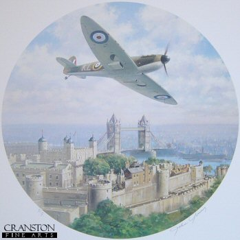 DHM1216AP.  Spitfire Over Tower Bridge by John Young. <p>Spitfire from No. 54 squadron flies over London with Tower Bridge in the background. <p><b>Last few copies available.</b><b><p>Signed by Group Captain Byron Duckenfield AFC (deceased)<br>and<br>Squadron Leader Maurice P Brown (deceased). <p> Limited edition of 20 artist proofs. <p> Paper size 14 inches x 16 inches (36cm x 41cm)