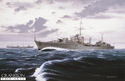 HMS Cossack on convoy duty by Ivan Berryman (GS)