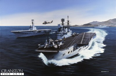 HMS Eagle and HMS Albion by Ivan Berryman.
