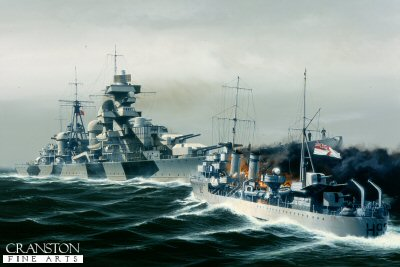 The attack on the Admiral Hipper by HMS Glowworm by Ivan Berryman.