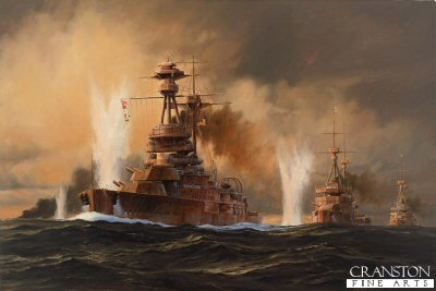 DHM1240. The Battle of Jutland, HMS Royal Oak by Anthony Saunders. <p>The British Grand Fleet had been virtually unopposed for nearly a century but now there was a challenge to the throne: the German Navy. Although smaller, it had caught up fast and by the time of Jutland, had some telling advantages over the British Fleet. the plan for the battle was to lure the British Grand Fleet into a lethal trap in German waters. In the event although desperately fought by both sides, the battle was a stale mate. the confused conflict was hampered on both sides by bad luck, bad weather and poor communications. at the end of the battle, the Royal navy had suffered higher losses in men and ships, but the German fleet never ventured out of harbour to seek battle again.  <b><p> Signed limited edition of 1150 prints.  <p>Image size 24 inches x 15 inches (61cm x 38cm)