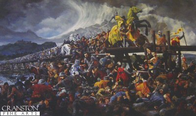 DHM1246.  The Taking of Stirling Bridge by Mike Shaw. <p>The taking of Stirling Bridge over the Forth by the Scots marks the point where the first great battle of the Scottish wars of independence was won. The heavily equipped English army, now divided into two, struggle to fight in the heavy ground of the river plain. In the centre the Scots Captain Wallace can be seen slaying treasurer Cressingham, while to the right lies a fatally wounded Sir Andrew de Moray. <b><p> Signed limited edition of 1150 prints. <p> Image size 25 inches x 15 inches (64cm x 38cm)