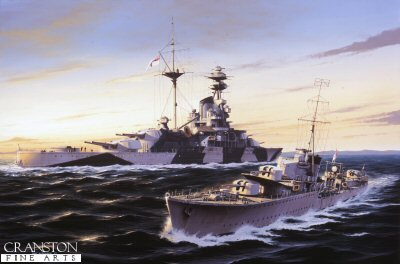 HMS Kelly passes HMS Royal Sovereign by Ivan Berryman.