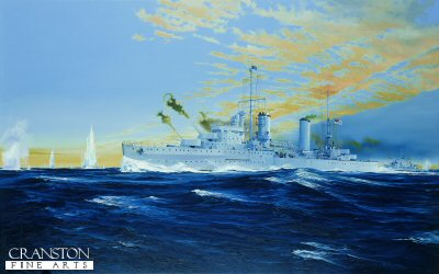 DHM1268.  HMAS Sydney By Randall Wilson. <p>Sydney engages Italian ships off Cape Busa, Crete.<b><p>Signed limited edition of 1150 prints. <p> Image size 25 inches x 15 inches (64cm x 38cm)