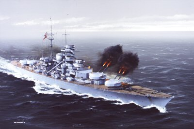 DHM1270.  Bismarck Replies to HMS Hood by Ivan Berryman. <p>The mighty Bismarck returns fire to the fast-approaching HMS Hood at the start of a battle that would see both adversaries tragically sunk.  The Bismarck would later be attacked by Swordfish aircraft from HMS Ark Royal, damaging her stearing and allowing her to be caught by the British battleships Rodney and King George V.  The once proud German battleship would be ruthlessly pounded into a twisted and burning wreck and finally finished by HMS Dorsetshire with torpedoes at around 10:30 hours on the morning of May 27th 1941.  HMS Dorsetshire and HMS Maori combed the area of the sinking for survivors, between them picking up a total of 110 out of an original complement of 2,300.<b><p> Signed limited edition of 1150 prints.  <p>Image size 25 inches x 15 inches (64cm x 38cm)