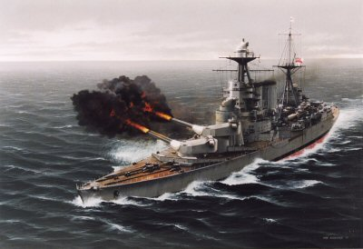 DHM1271. HMS Hood Opens Fire Upon the Bismarck by Ivan Berryman.<p> In the early morning murk of 24th May 1941, the forward 15in guns of HMS Hood fire the first shots against the mighty German battleship Bismarck.  Both Bismarck and her escort, the Prinz Eugen, immediately responded, the latter causing a fierce fire on Hoods upper deck, while plunging shot from Bismarck penetrated deep into the British ships hull, causing an explosion that ripped the Hood apart, sinking her in an instant.  Tragically, just three survivors were rescued from the water. <b><p> Signed limited edition of 1150 prints.  <p>Image size 25 inches x 15 inches (64cm x 38cm)