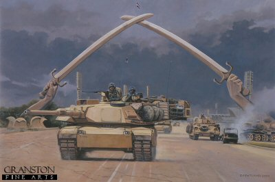 Through the Hands of Victory, Baghdad, Iraq, 7th April 2003 by David Pentland. (P)