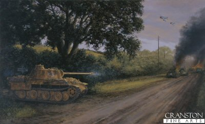 DHM1276. Barkmann by David Pentland. <p> Ernst Barkmann  of the Das Reich 2nd SS panzer Division holds his position near St lo, Normandy 26th July 1944. against an American Armoured breakthrough. <b><p> Signed limited edition of 1150 prints.  <p>Image size 25 inches x 16.5 inches (64cm x 42cm)
