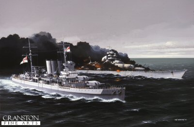 HMS Dorsetshire by Ivan Berryman.