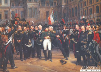 DHM129.  Les Adieux de Fontainebleau by Horace Vernet. <p>Napoleon is shown taking leave of the Imperial Guard outside the Palace of Fontainbleau. With a dramatic final gesture, I cannot embrace you all but I shall embrace your General, and after General Petit, he kissed the eagle of the 1st Grenadiers whose bearer, Lieut Fortin covers his face. The officers at the right are representative of the Allied armies and are considerably less affected by the scene than the Frenchman.<b><p>Limited edition of 1000 prints. <p> Image size 30 inches x 21 inches (76cm x 53cm)
