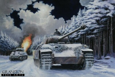 DHM1294. Night Drive to Manhay, Barkamnn in the Ardennes, 24th December 1944 by David Pentland. <p> Oberscharfuhrer Ernst Barkmann in Panther 401 accidentally found himself as the spearhead of the 2nd SS Panzer Divisions night assault on the crossroads at Manhay.  Initially mistaking a lone Sherman of US 7th Armoured Division as that of his own commander, he pulled alongside the enemy tank, and only realised his mistake when he noticed its unusual red interior lights.  In a brief close quarter fight he managed to destroy the M4 with the Panthers anti-personnel mortar (Panzergranate)  He then proceeded along the moonlit forest roads past a succession of surprised American units to Manhay and on towards Liege, having left several destroyed vehicles in his wake.  His appearance caused havoc in the US defences, culminating in a rout. <b><p> Signed limited edition of 1150 prints.  <p>Image size 25 inches x 16.5 inches (64cm x 42cm)