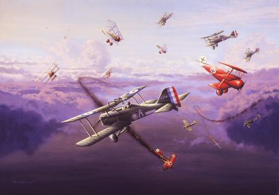 DHM1296.  Dawn Dog Fight, Mick Mannock VC by Graeme Lothian. <p> High above the trenches in April 1918, 74 Squadron engage the famed JG 1 led by the renowned ace baron von Richthofen in his distinctive bright red DR 1. Edward Mick mannock flying a SE5.a diving down top engage another Fokker Dr1 as the red baron flies past momentarily catching each others eyes. The new CO of 74 squadron, major Grid Caldwell MC (bar) New Zealands top ace can be seen above entering the dog fight. But it would be Mannock who would go on to great fame. with 61 confirmed victories and to win the VC, DSO (bar) and MC (bar) After 74 squadron he replaced Billy Bishop of CO 85 Squadron on the 3rd July 1918, scoring 46 victories in the Se5.a He was killed by ground fire near Lestram, France on the 26th July 1918. his Victoria Cross being gazetted on the 18th July 1919. The red baron CO of the Richthofens Flying circus didnt survive the month, also killed by ground fire on the 21st April, he was buried by the Allies with full military honours. <b><p> Signed limited edition of 1150 prints<p>Image size 25 inches x 16 inches (64cm x 41cm)