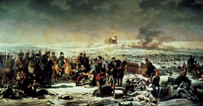 DHM130B.  The Battle of Eylau 8th February 1807, by Adolphe Roehn. <p>Outnumbered, Napoleon almost lost this battle, the winter weather was appalling but for the superb Cavalry Charge led by Prince Murat, halted the Russian advance. This gave time for the French reserves to arrive. The battle ended up in a draw, the horrors of war are depicted in his painting  of the battle in which 35,000 men fell. Napoleon orders prisoners to receive medical attention as Murat looks on, dressed in one of his flamboyant uniforms.<b><p> Open edition print. <p> Image size 12 inches x 6 inches (31cm x 15cm)