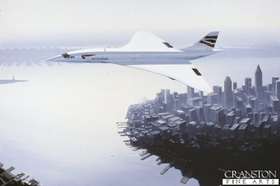 DHM1304. Concorde over New York (Concorde Farewell) by Ivan Berryman. <p> A sight never to be repeated as a British Airways Concorde bids farewell to new York in October 2003. <b><p> Signed limited edition of 1150 prints.  <p>Image size 25 inches x 15 inches (64cm x 38cm)