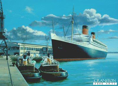 Queen Elizabeth at Southampton by Ivan Berryman.