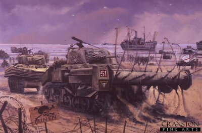 DHM1311C. D-Day, Sword Beach, Normandy 1944 by David Pentland. <p>After suppressing the initial German defences, the Sherman Crab flail tank of Lance Sgt Johnson, 3 Troop C Squadron the 22nd Dragoons, 79th Armoured Division, clears a path through a minefield to allow tanks of 27th Armoured Brigade, and men of 3rd Infantry Division to breakout from the beaches. Fire support from surviving Sherman DD (amphibious) tanks of 13th /18th Hussars (QMO), proved invaluable in the initial push towards Caen <b><p>Signed by Sergeant Titch Rayner. <p> Signature Edition of 100 prints from the signed limited edition of 1150 prints. <p> Image size 25 inches x 16.5 inches (64cm x 42cm)