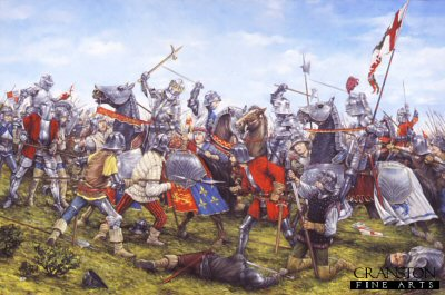 DHM1315. Battle of Bosworth by Brian Palmer. <p>In 1485, the Lancastrian contender for the throne of England, Henry Tudor, sailed from France with a small force of mainly continental mercenaries determined to wrestle the crown from Richard III.  Gathering many supporters along the way he eventually arrived at Bosworth with an army numbering 5000 against Richards 8000.  Things began well enough for Richard but it became apparent during the battle that the neutral Stanley Brothers, Sir William Stanley and Lord Thomas Stanley and their men who had remained on the sidelines, had elected to fight for Henry.  Richard charged for Henry in person but was overwhelmed and killed.  He was the last English King to die in battle.  Although not the final battle of the War of the Roses, the victory for Henry at Bosworth secured the crown and began the Tudor dynasty.<b><p> Signed limited edition of 1150 prints. <p> Image size 25 inches x 15 inches (64cm x 38cm)