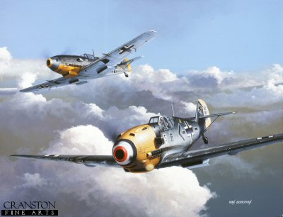 DHM1321B. Adolf Galland / Messerschmitt Bf109 E-4 by Ivan Berryman <p>Germanys primary fighter during World War II, the Daimler-Benz DB601A powered BF109E-4 was much loved by its pilots, combining good speed and manoeuverability with a powerful armament, namely two 7.9mm MG17 machine guns in the top decking, two wing mounted 20mm MGFF/M canon and a further 20mm MGFF/M canon mounted in the engine, firing centrally through the propeller spinner. Nearest aircraft is that of the 109s greatest exponent, Major Adolf Galland, Gruppenkommander III/JG26 Schlageter, Luftflotte 2, depicted during a sortie from Caffiers, France in 1942. <b><p>Signed by General Gunther Rall (deceased). <p>Rall Knights Cross signature edition of 100 prints from the signed limited edition of 1150 prints. <p> Image size 25 inches x 15 inches (64cm x 38cm)