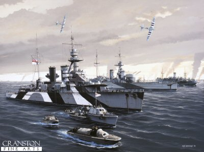 HMS Frobisher and HMS Roberts at Normandy by Ivan Berryman (GL)