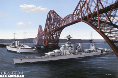 HMS Hood Passing Under the Forth Rail Bridge by Ivan Berryman.