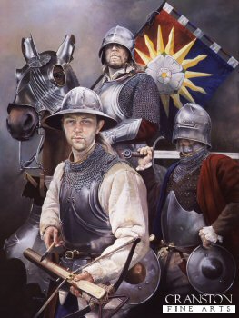 DHM1393. Sun in Splendour by Chris Collingwood.<p>  Soldiers of the Yorkist cause c.1461. Crossbowman, Man at arms and knight with the standard of the Sun in Splendour. <b><p> Signed limited edition of 1150 prints.  <p>Image size 25 inches x 17 inches (64cm x 43cm)