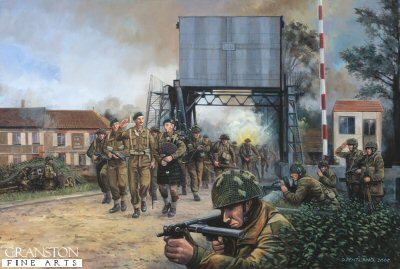 DHM1394B. Piper Bill, Pegasus Bridge, Normandy, 13.00hrs, 6th June 1944 by David Pentland. <p>Commandos of 1st Special Service Brigade, led by Lord Lovat, are piped past the defenders of the Caen canal (Pegasus) bridge by piper Bill Millin. The bridge was originally taken in a coup de main attack by the gliders of 6th Airborne Divisions D Company, 2nd battalion Oxfordshire and Buckinghamshire Light Infantry, led by Major John Howard earlier that morning. Shortly afterwards the glider troops were reinforced by 7 Parachute Battalion, and together they held the area against German attacks until the main British forces landing at Sword beach could fight through to join them. <b><p>Signed by Sergeant Titch Rayner. <p>Rayner Signature edition of 500 prints from the signed limited edition of 1150 prints. <p> Image size 25 inches x 15 inches (64cm x 38cm)
