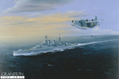 DHM1397.  Final Farewell by Randall Wilson.  <p> HMS Hood leads HMS prince of Wales past the Orkney islands as they build up steam to make a course to intercept  the mighty German battleship Bismarck. <b><p> Signed limited edition of 1150 prints. <p> Image size 25 inches x 15 inches (64cm x 38cm)