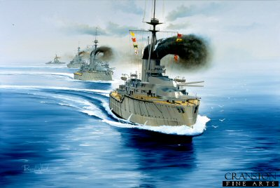 DHM1400.  2nd Battle Squadron at the Battle of Jutland by Randall Wilson. <p> HMS Orion leading HMS Conqueror, HMS Monarch, HMS Thunderer, the 2nd Battle Squadron. <b><p> Signed limited edition of 1150 prints. <p>Image size 25 inches x 15 inches (64cm x 38cm)