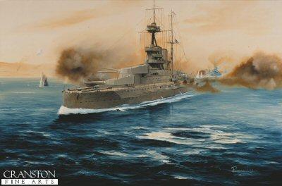 HMS Queen Elizabeth, Dardanelles Campaign 1916 by Randall Wilson (GL)