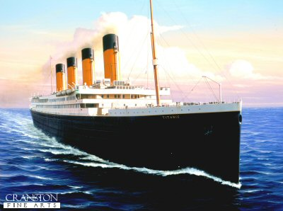 DHM1410. RMS Titanic  by Ivan Berryman. <p> The elegant but ill-fated jewel in the White Star crown Titanic was a technical marvel of engineering in its day. At 882 ft long, her perfect proportions and magnificent profile were the envy of other shipping companies. her tragic loss on her maiden voyage was a crushing blow to the White Star Line that left the whole world in shock. <b><p> Signed limited edition of 1150 prints.  <p>Image size 25 inches x 17 inches (64cm x 43cm)